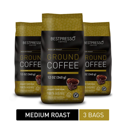 Medium Roast Ground Coffee, 12 Ounce (Pack of 3)