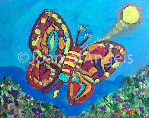 Rainbow Butterfly Unpinned Giclee on Canvas