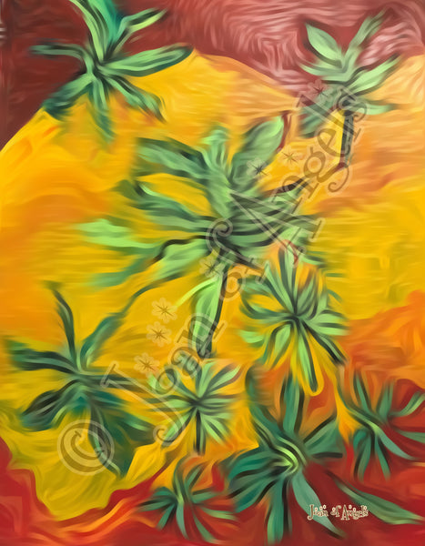 Dancing Among the  Canna Weeds Giclee Print on Canvas
