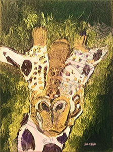 Green Giraffe Giclee Art Print on Canvas