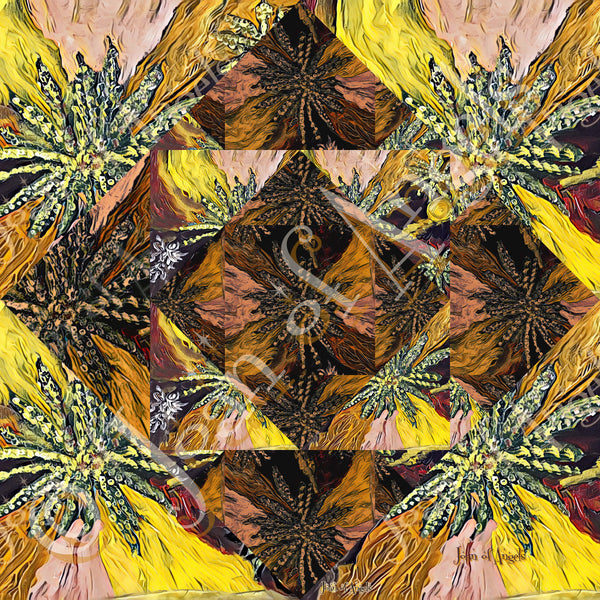 Interdimensional Portals in Yellow and Brown Canna Gicle Print on Canvas