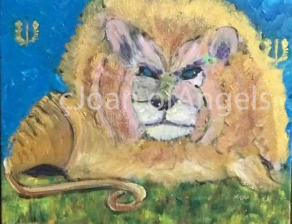 Rainbow Feline Lion Spirit Guide Giclee Print on Canvas