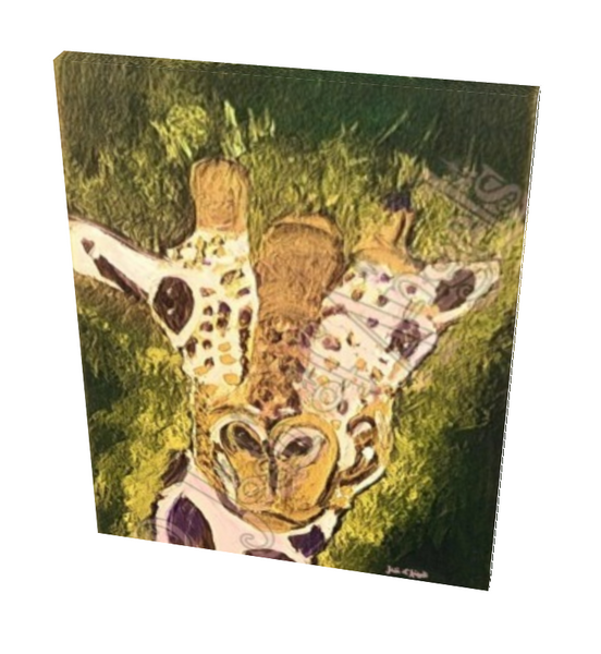 Green Giraffe Giclee Print on Canvas