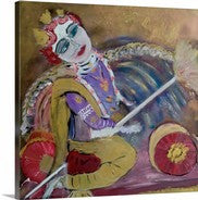 Krishna Spreading Joy Giclee Print on Canvas
