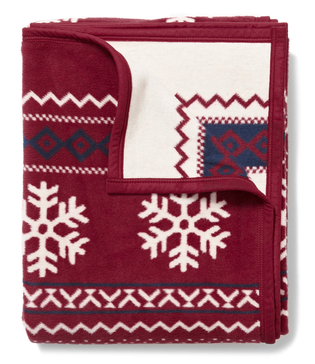 Snowflake Classic Fair Isle Red Blanket