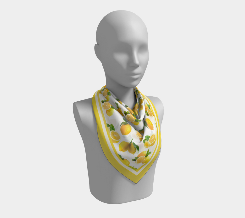 Summer Lemons Satin / Silk Scarf