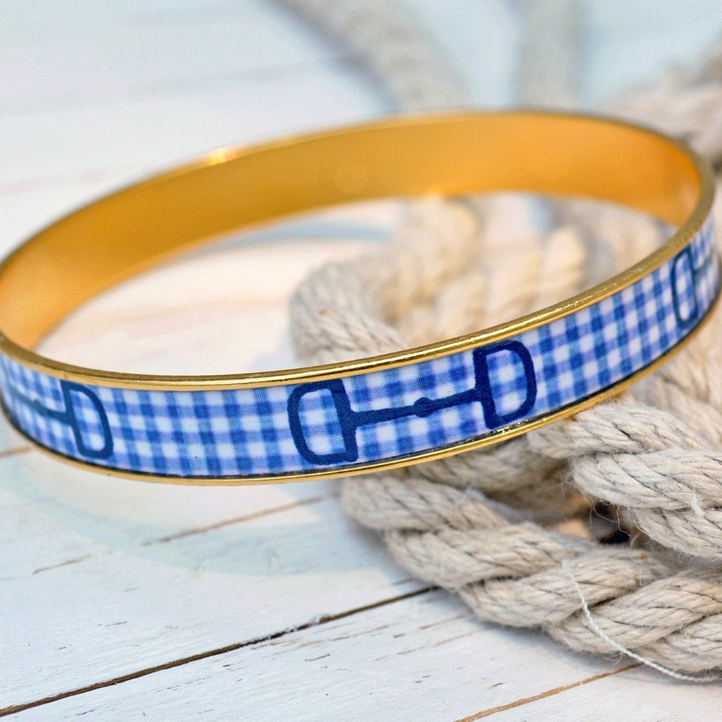 Blue Gingham Horse Bit Bangle Bracelet
