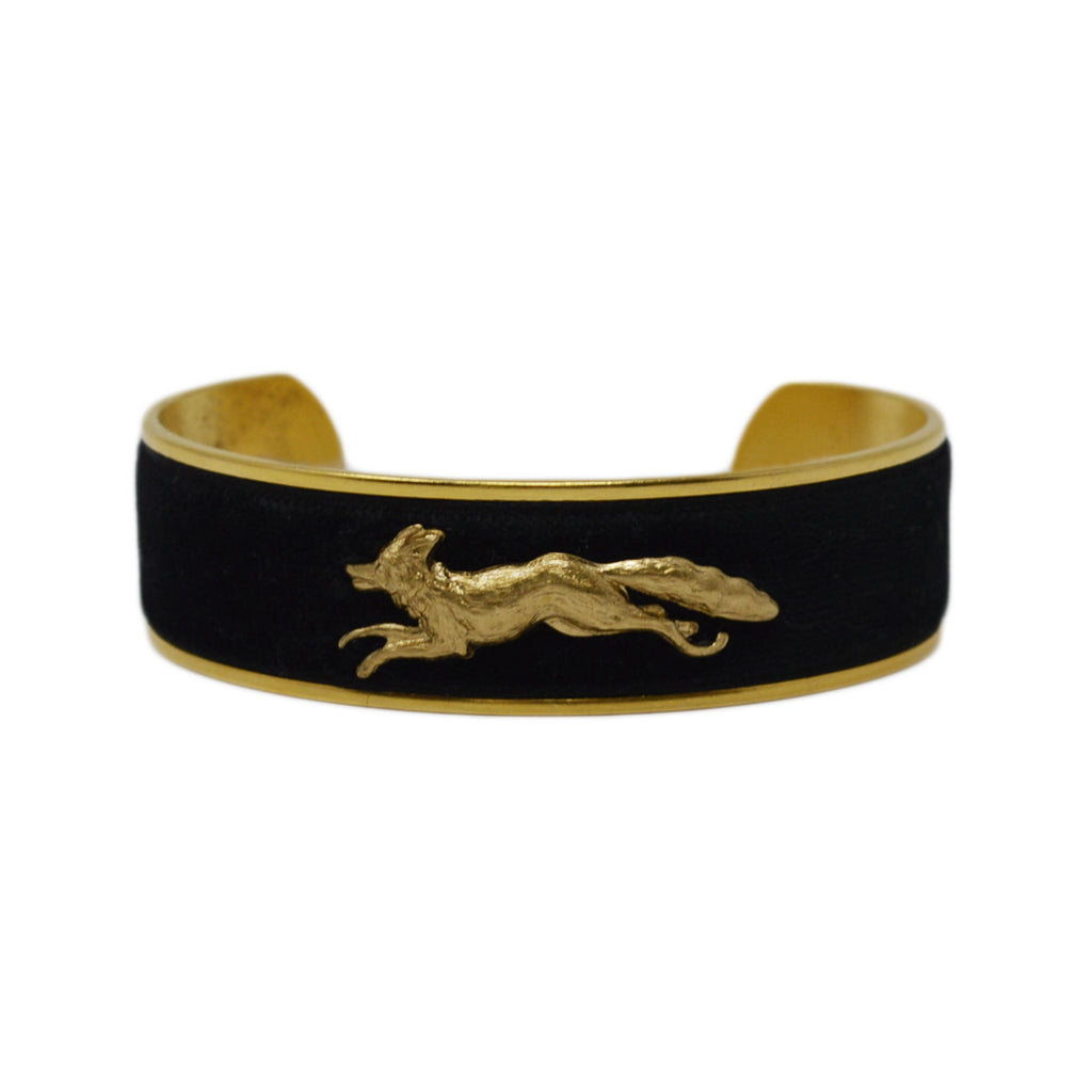 Black Velvet Running Fox Cuff Bracelet