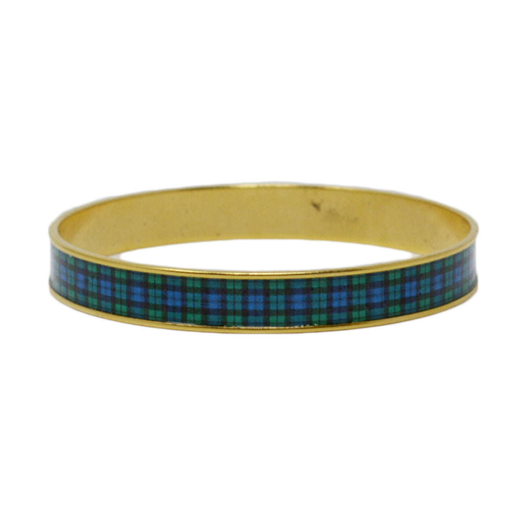 Black Watch Plaid Bangle Bracelet