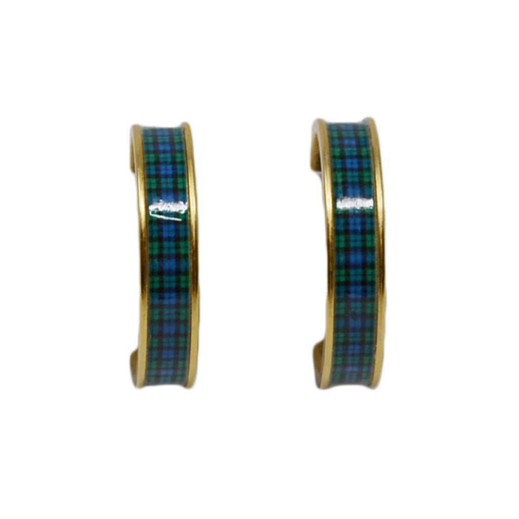 Black Watch Plaid Hoop Earrings