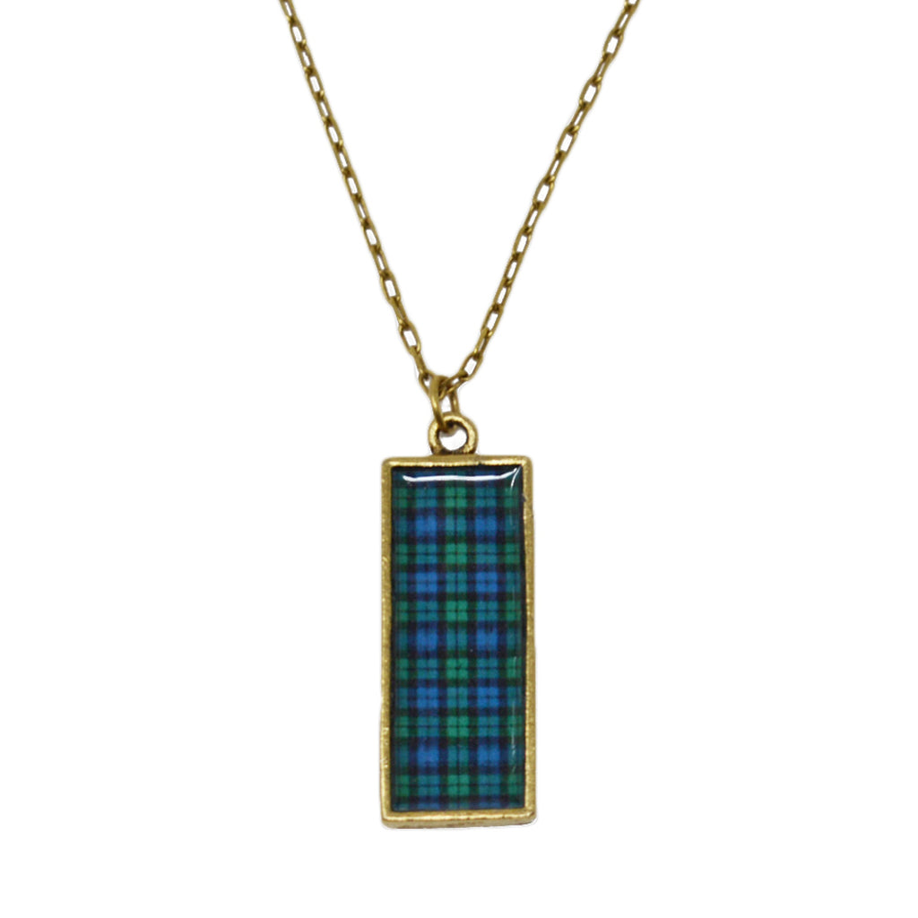 Black Watch Plaid Pendant Necklace