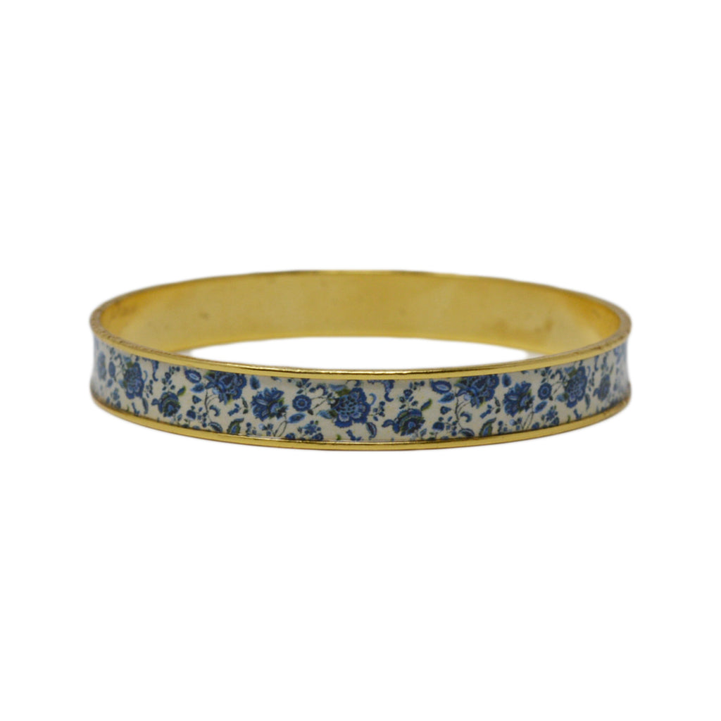 New England Blue Floral Bangle Bracelet