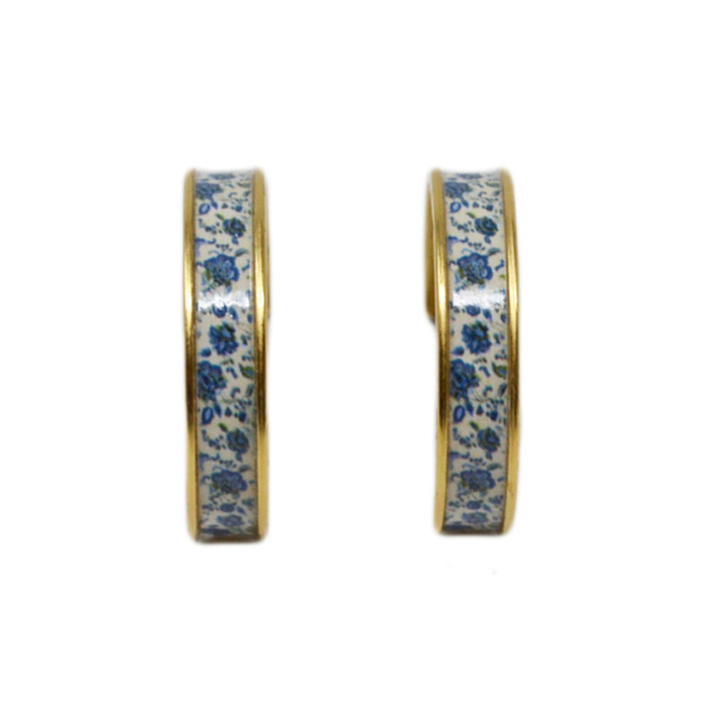 New England Blue Floral Hoop Earrings