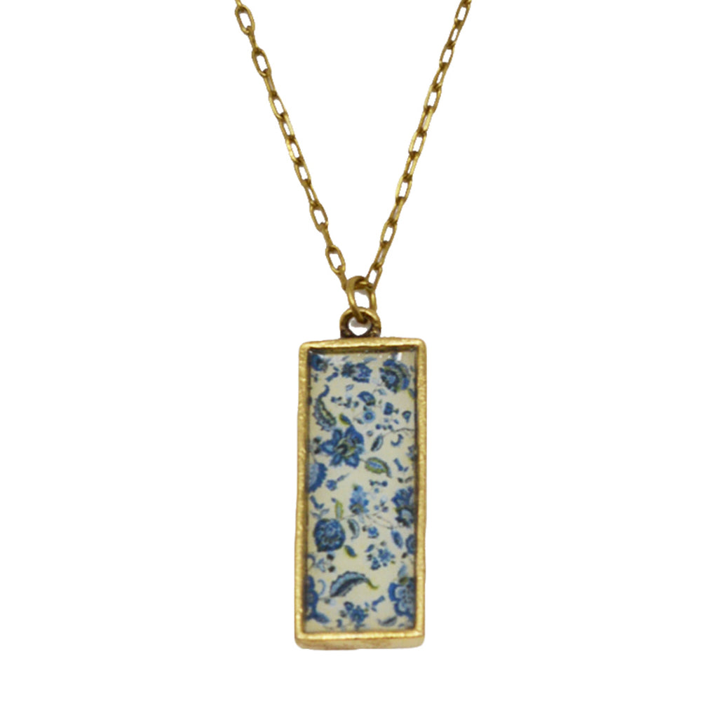 New England Blue Floral Pendant Necklace