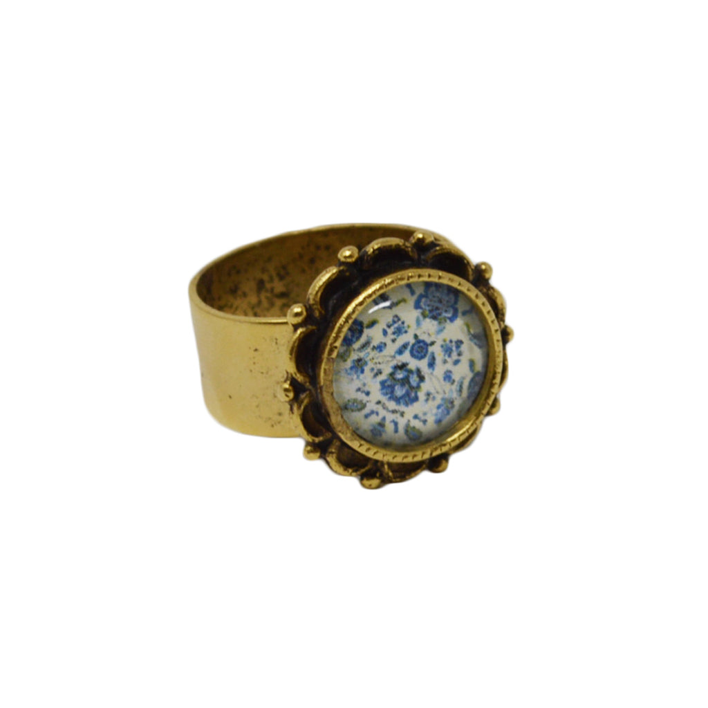 New England Blue Floral Adjustable Ornate Ring