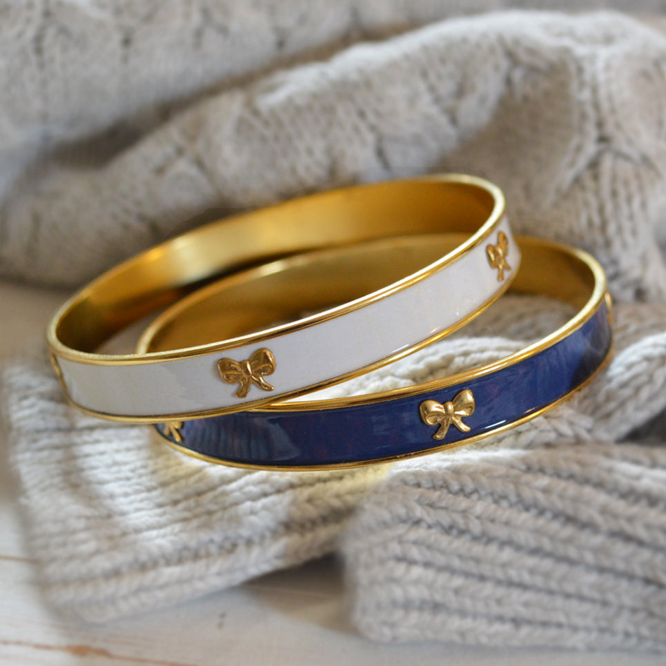 Women's Preppy Bangle Bracelet - Navy & Ivory Bows