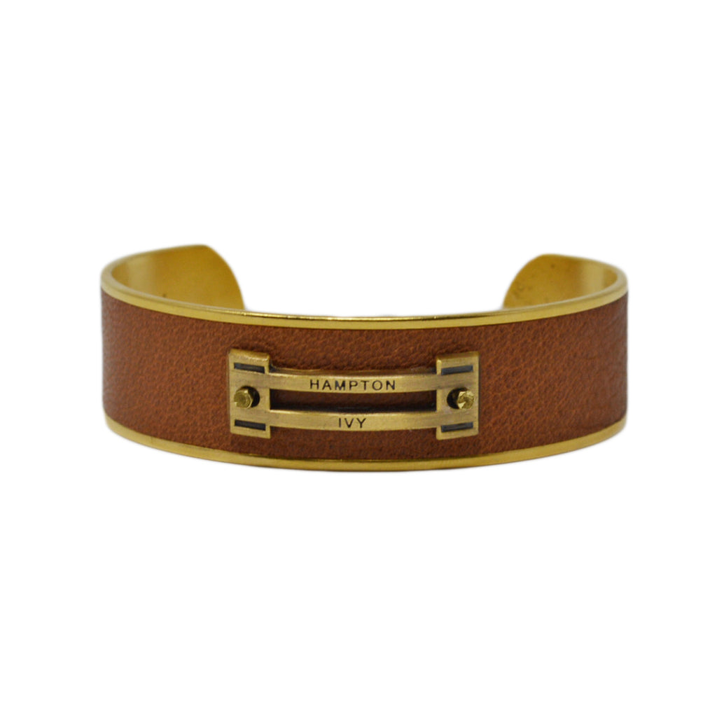 Tan Leather Horse Jump Cuff Bracelet