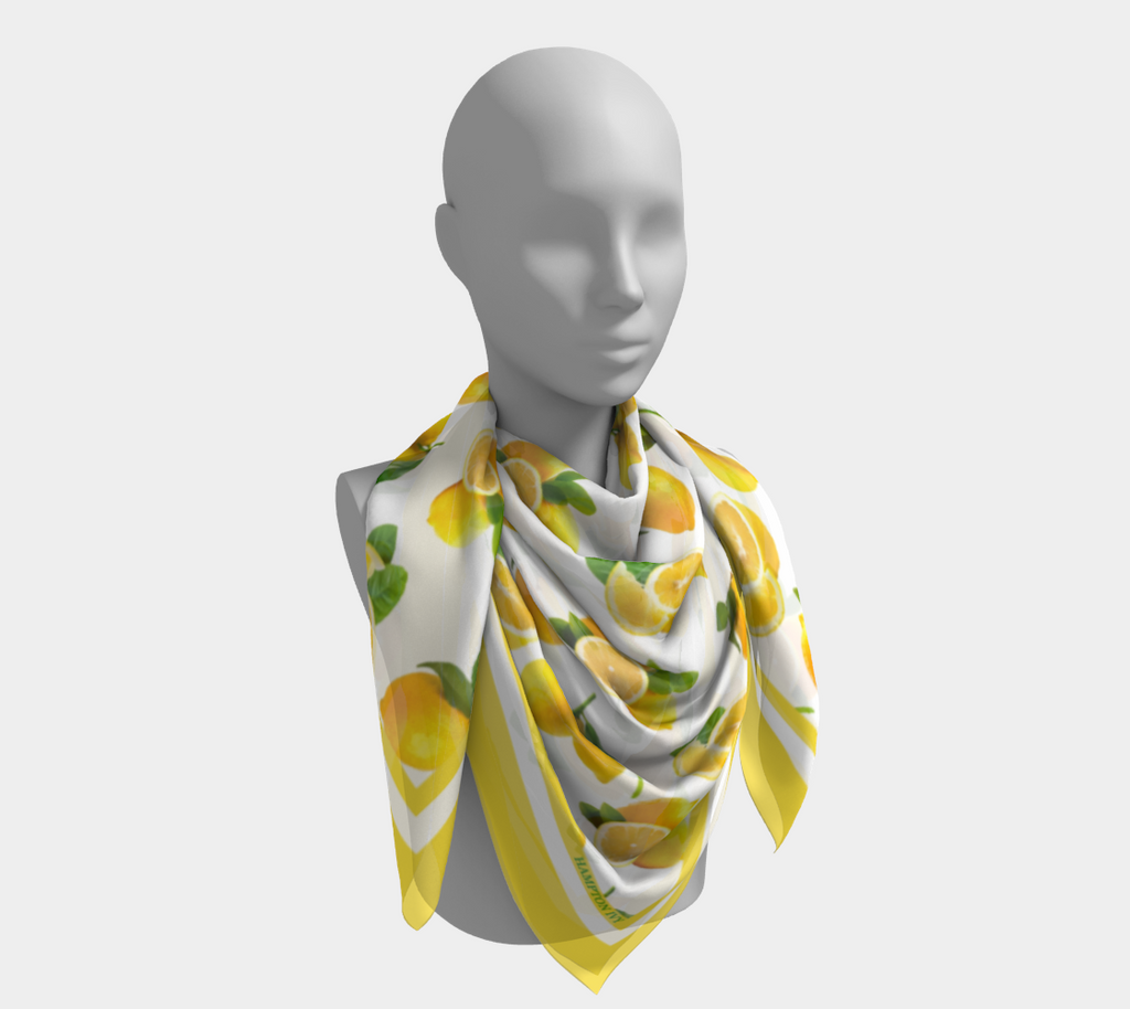 Summer Lemons Satin Charmeuse Scarf