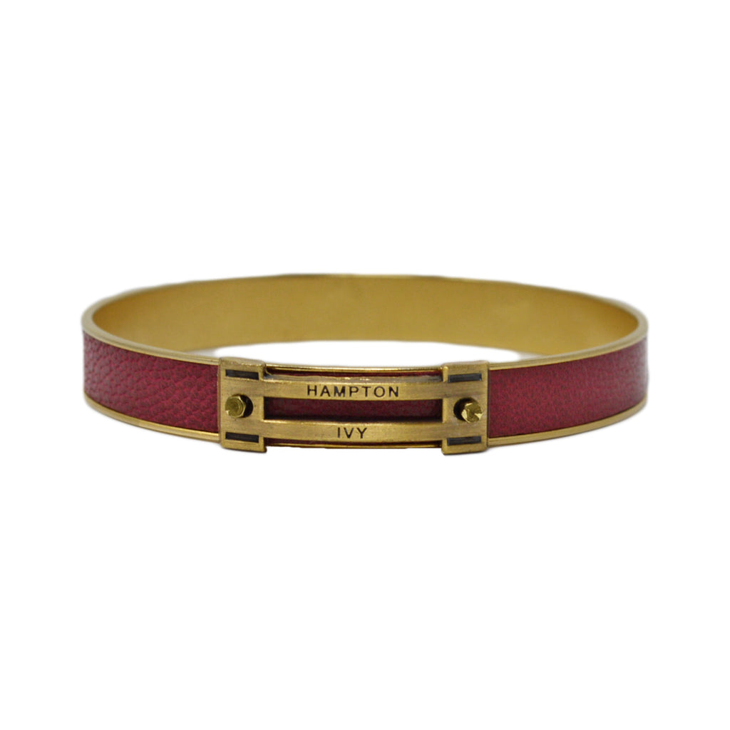 Crimson Leather Horse Jump Bangle Bracelet