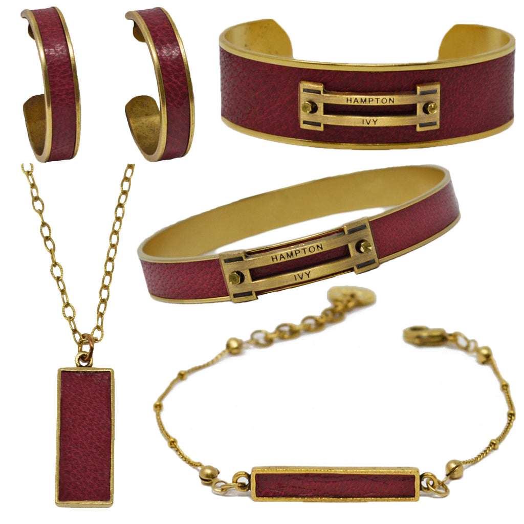 Crimson Leather Jewelry Set