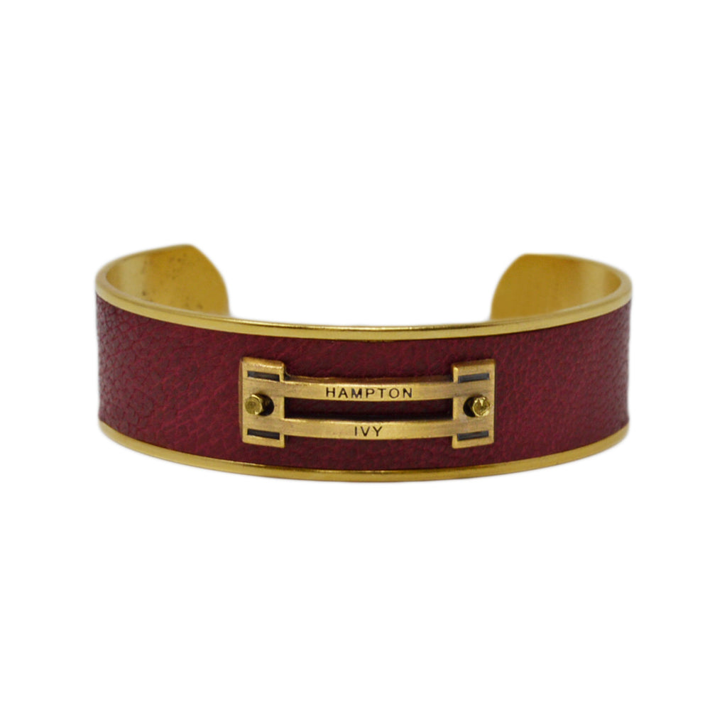 Crimson Leather Horse Jump Cuff Bracelet