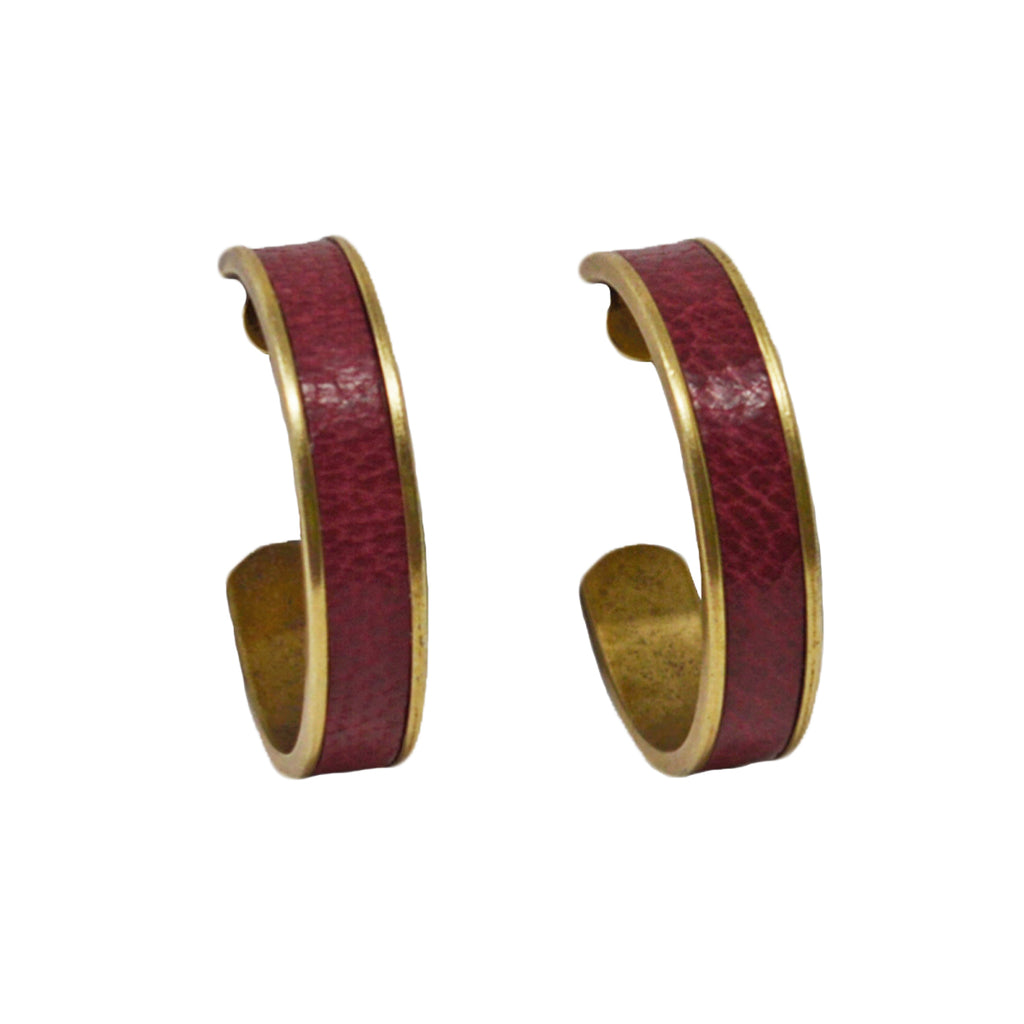 Crimson Leather Hoop Earrings