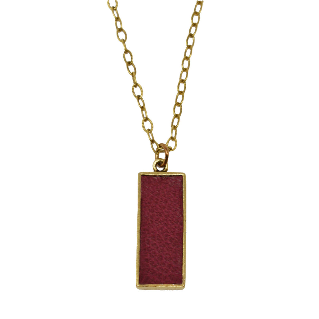 Crimson Leather Pendant Necklace