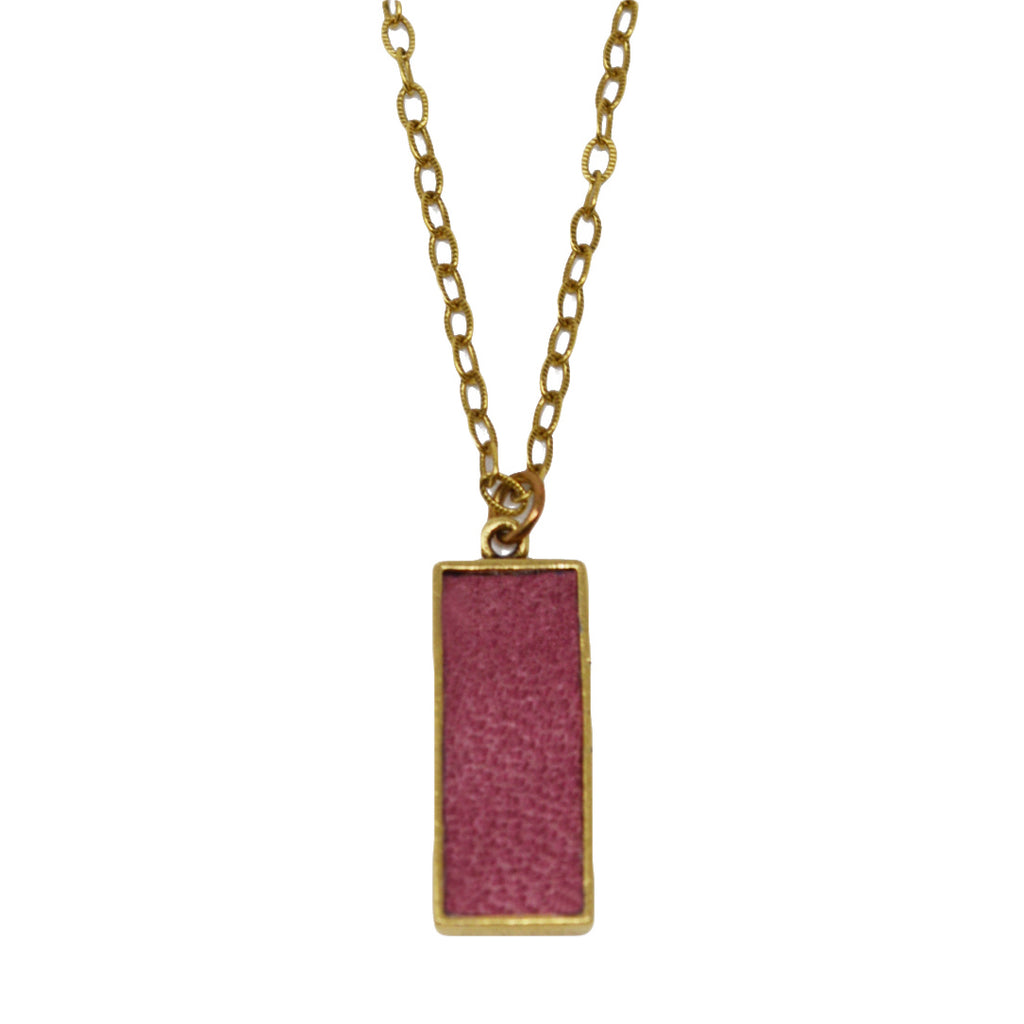 Crimson Suede Pendant Necklace