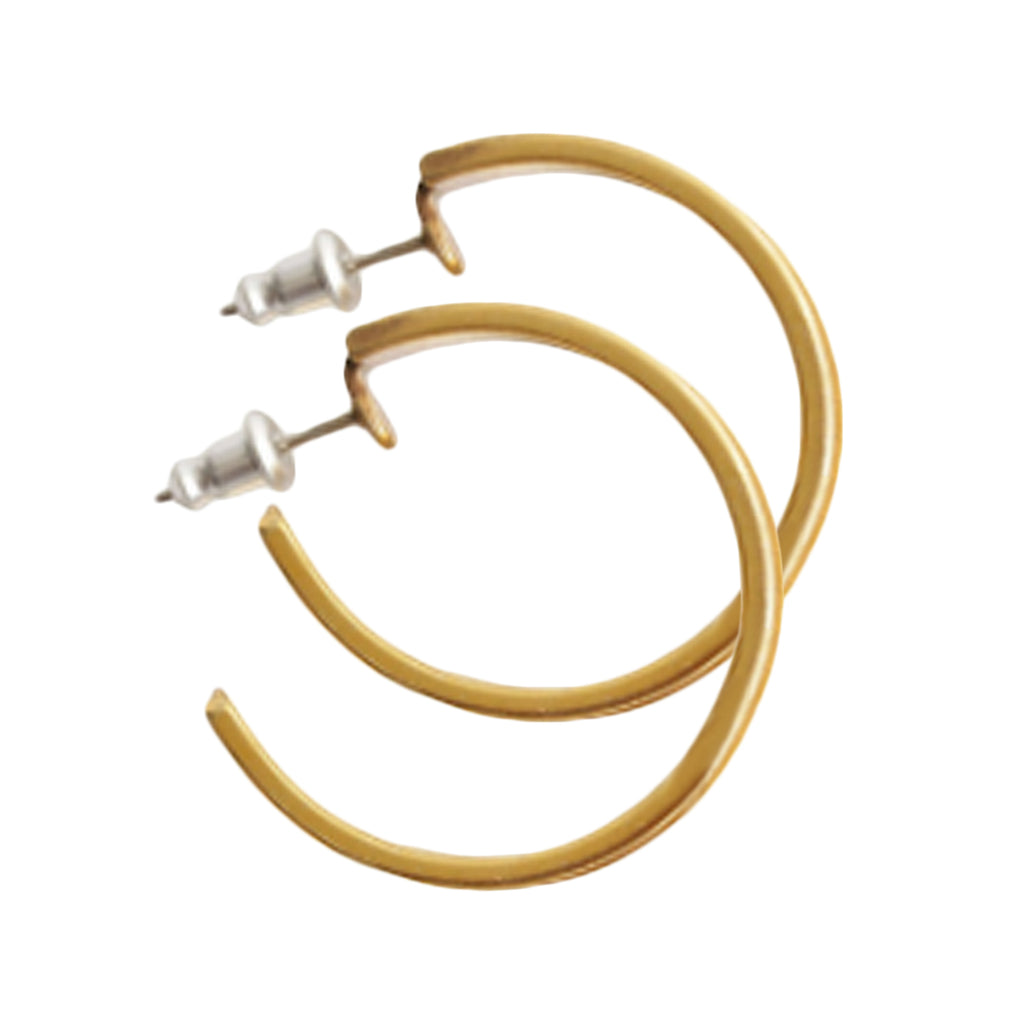 Tan Suede Hoop Earrings