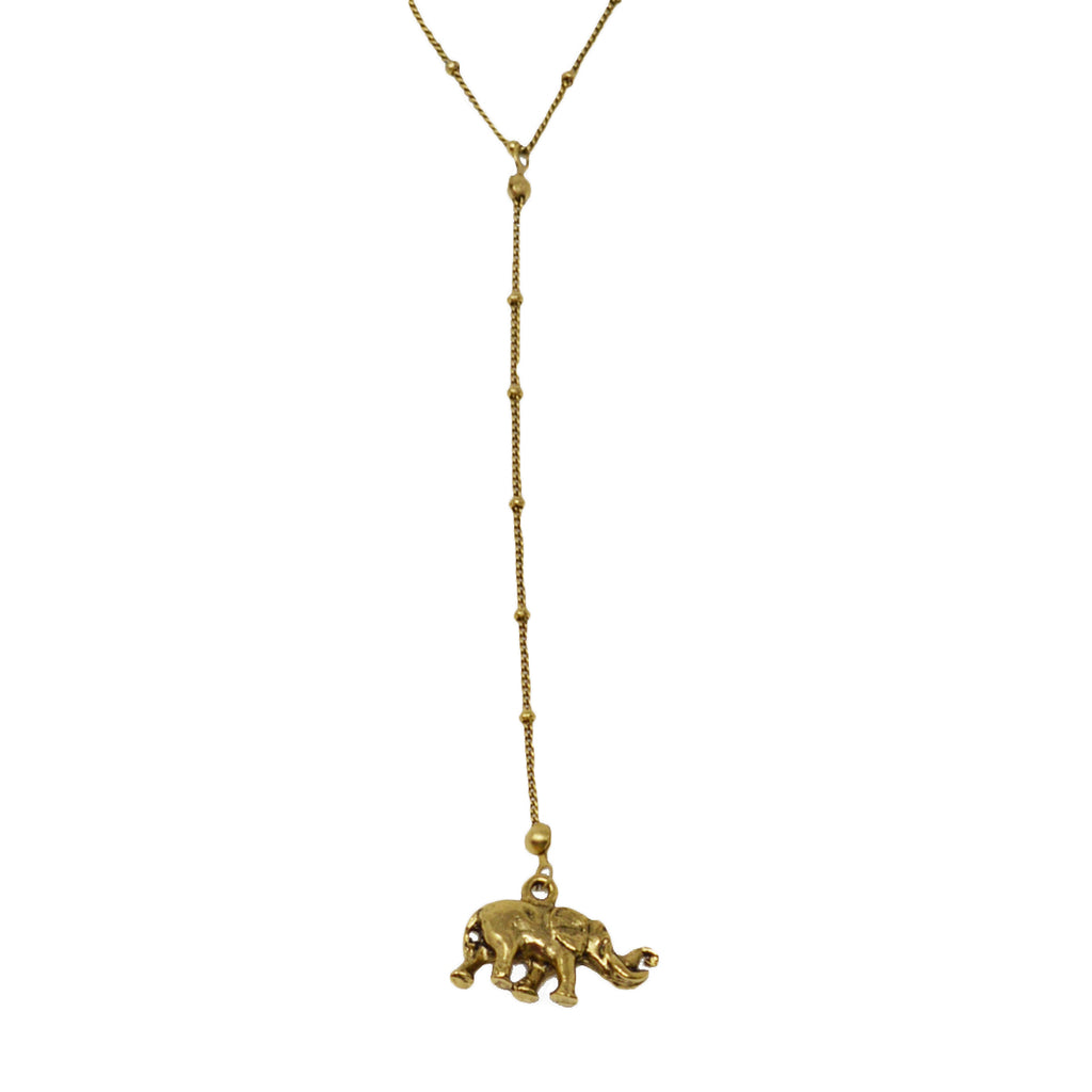 Elephant Drop Charm Y Necklace