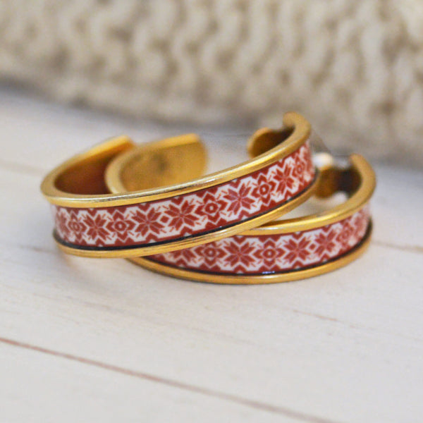 Women's Preppy Fair Isle Hoop Earrings