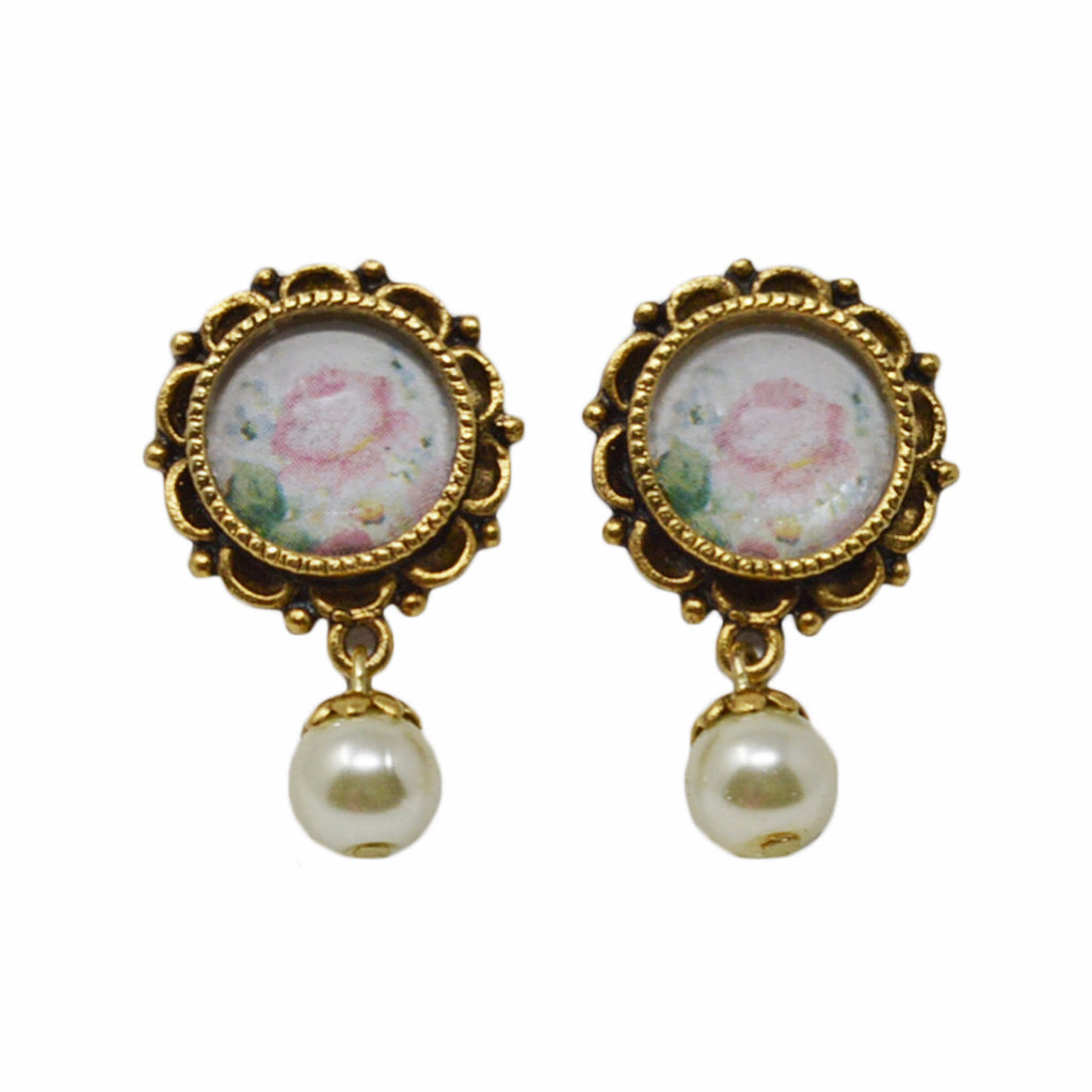 Ornate Feminine Floral Drop Pearl Earrings