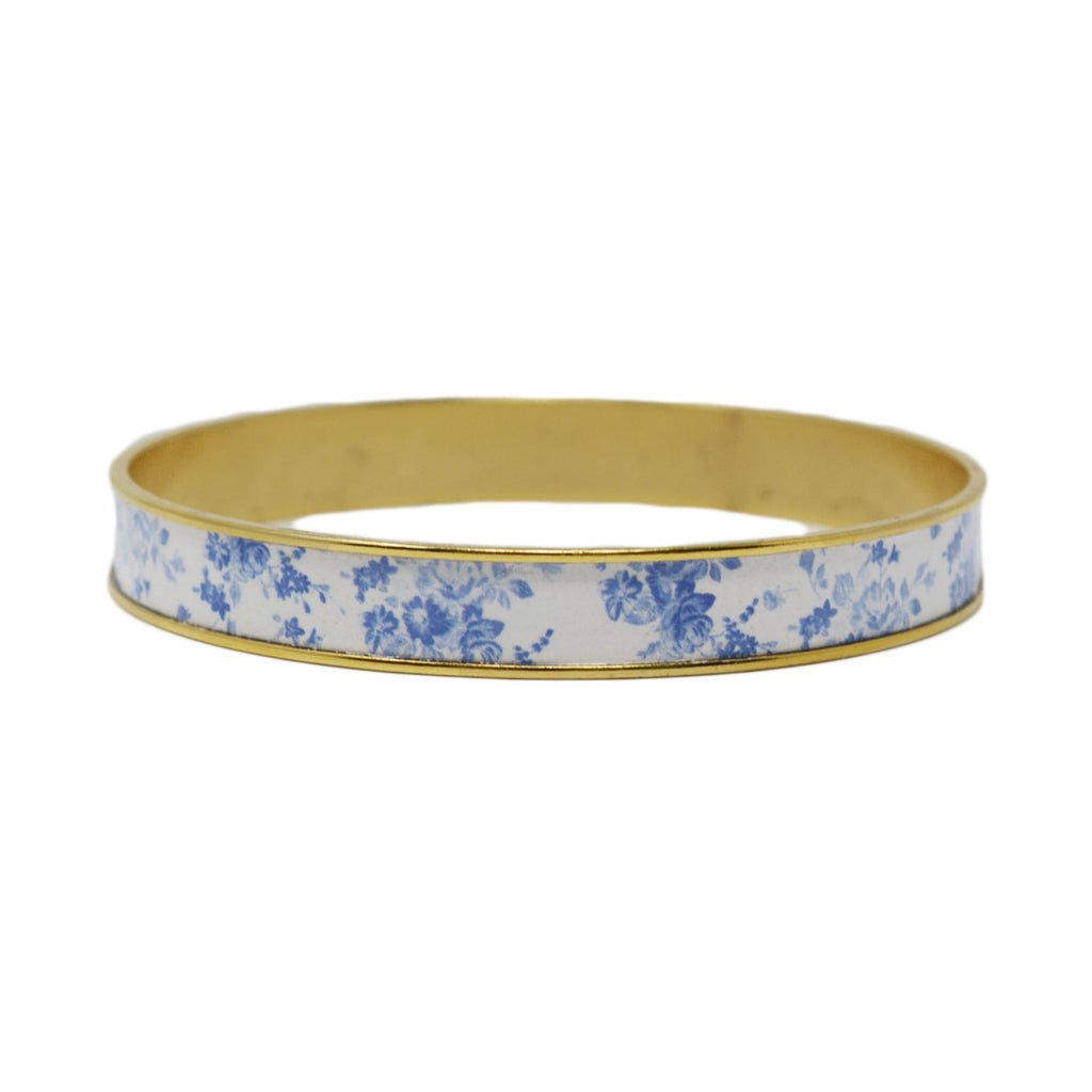 French Blue Floral Bangle Bracelet