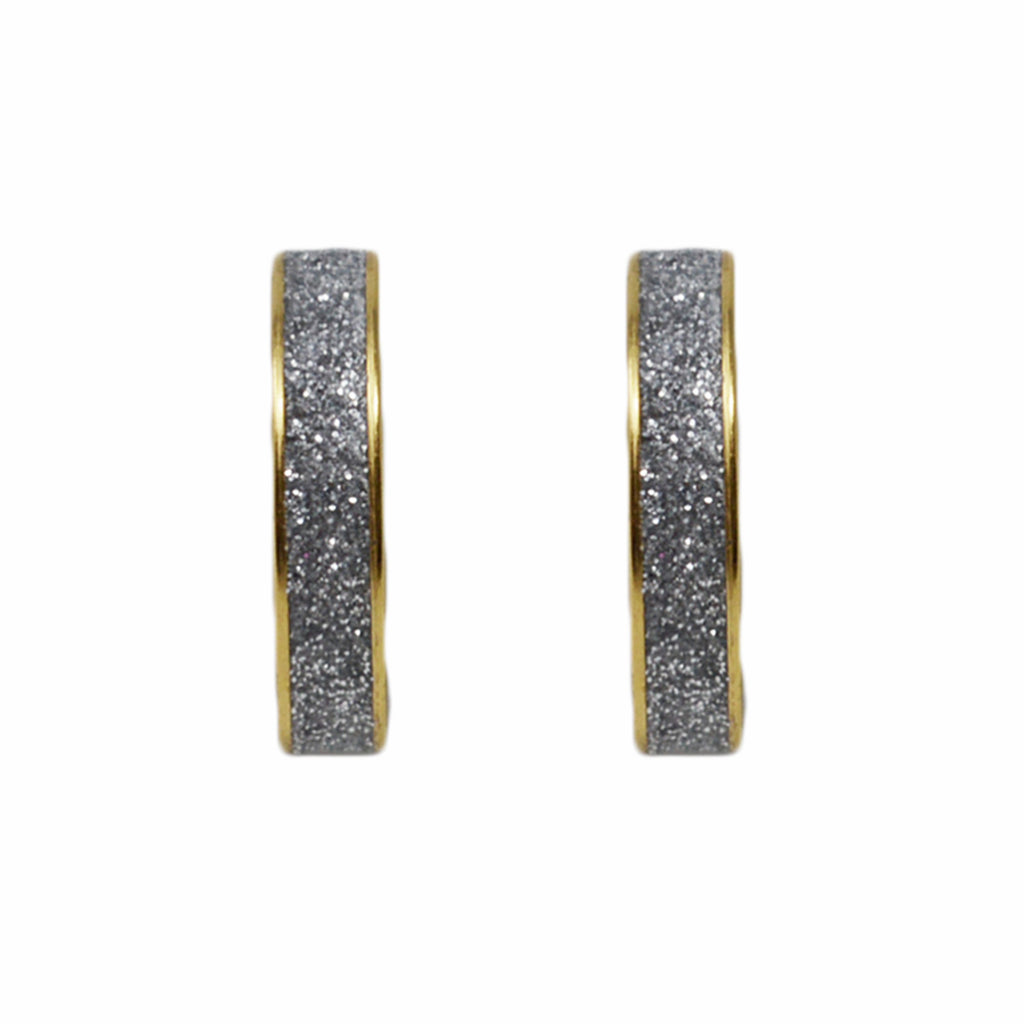 Silver Glitter & Gold Hoop Earrings