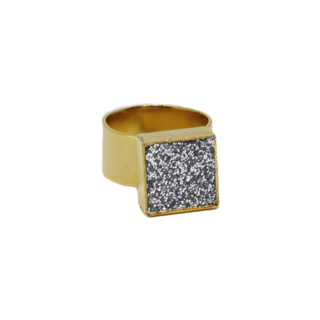Silver Glitter & Gold Adjustable Ring