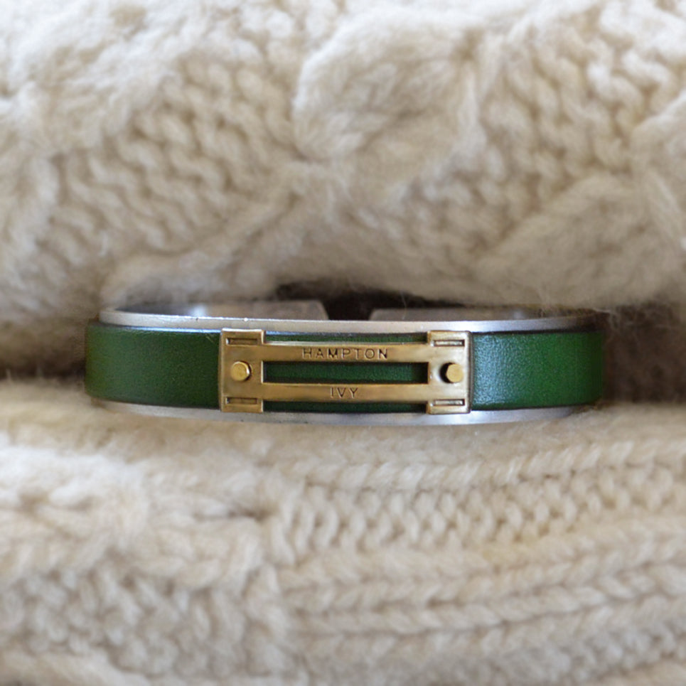 Men's Preppy Equestrian Metal & Leather Bracelet - Forest Green