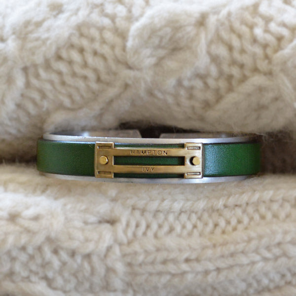 Preppy Equestrian Leather Metal Cuff Bracelet - Forest Green