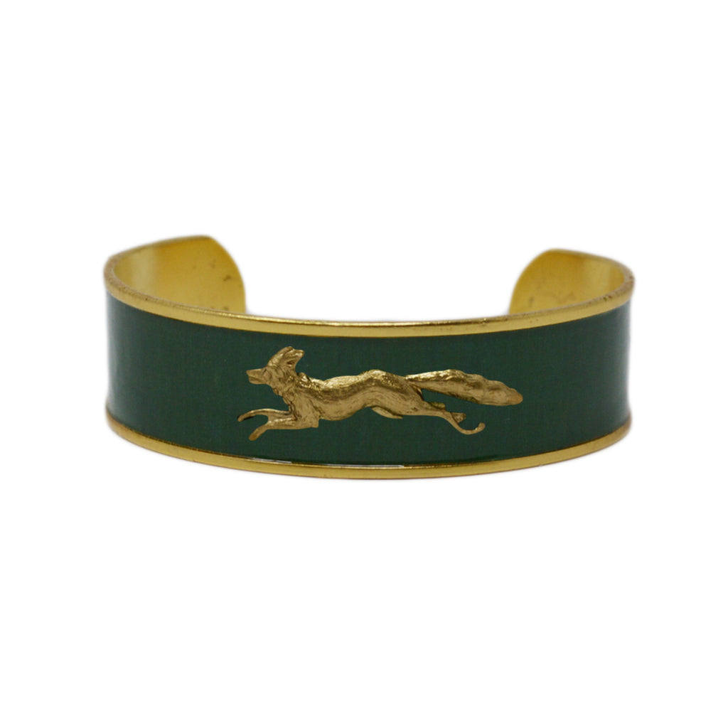 Forest Green Running Fox Cuff Bracelet