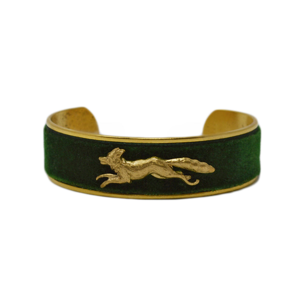 Hunter Green Velvet Running Fox Cuff Bracelet