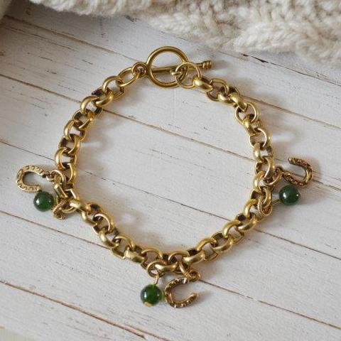 Women's Preppy Gold Chain Link Charm Bracelet - Forest Green Horseshoe