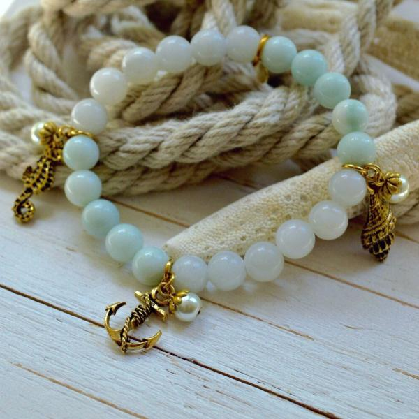 Women's Nautical SemiPrecious Beaded Charm Bracelet - Jewels of the Sea