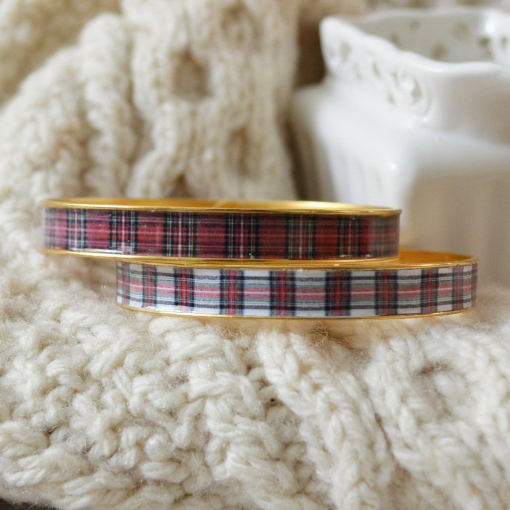 Women's Preppy Equestrian Bangle Bracelet - Red Plaid & Stewart Plaid