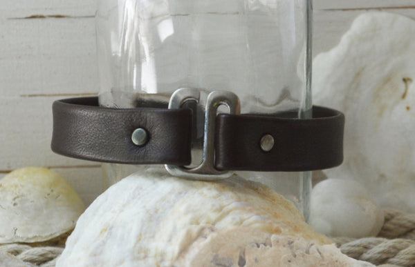 Men's Preppy Leather Bracelet - Silver Carpe Diem