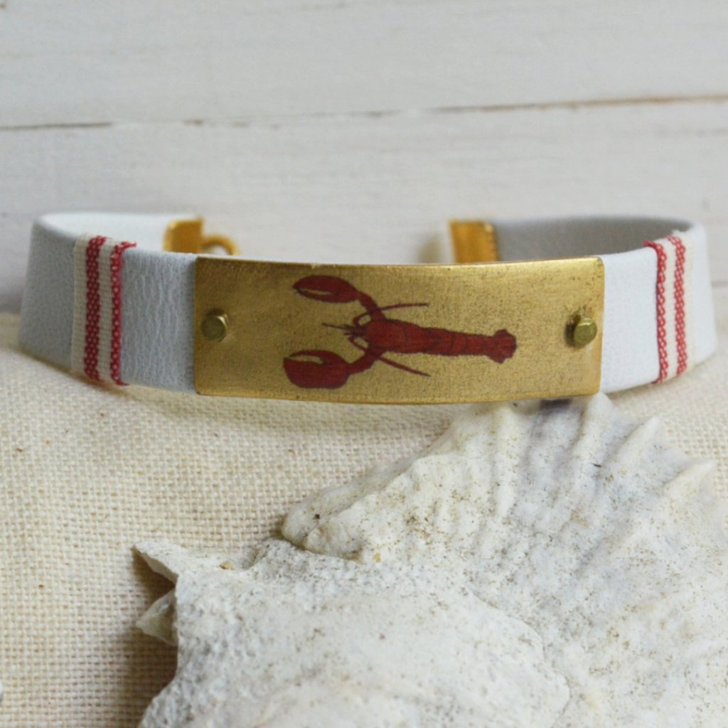 Women's Preppy Nautical Leather Charm Bracelet - Red Lobster