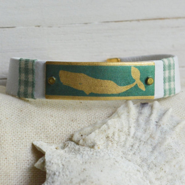 Women's Preppy Nautical Leather Bracelet - Sea Green Whale