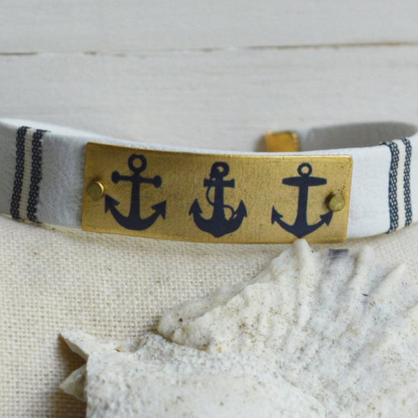 Women's Preppy Nautical Leather Bracelet - Navy Anchors