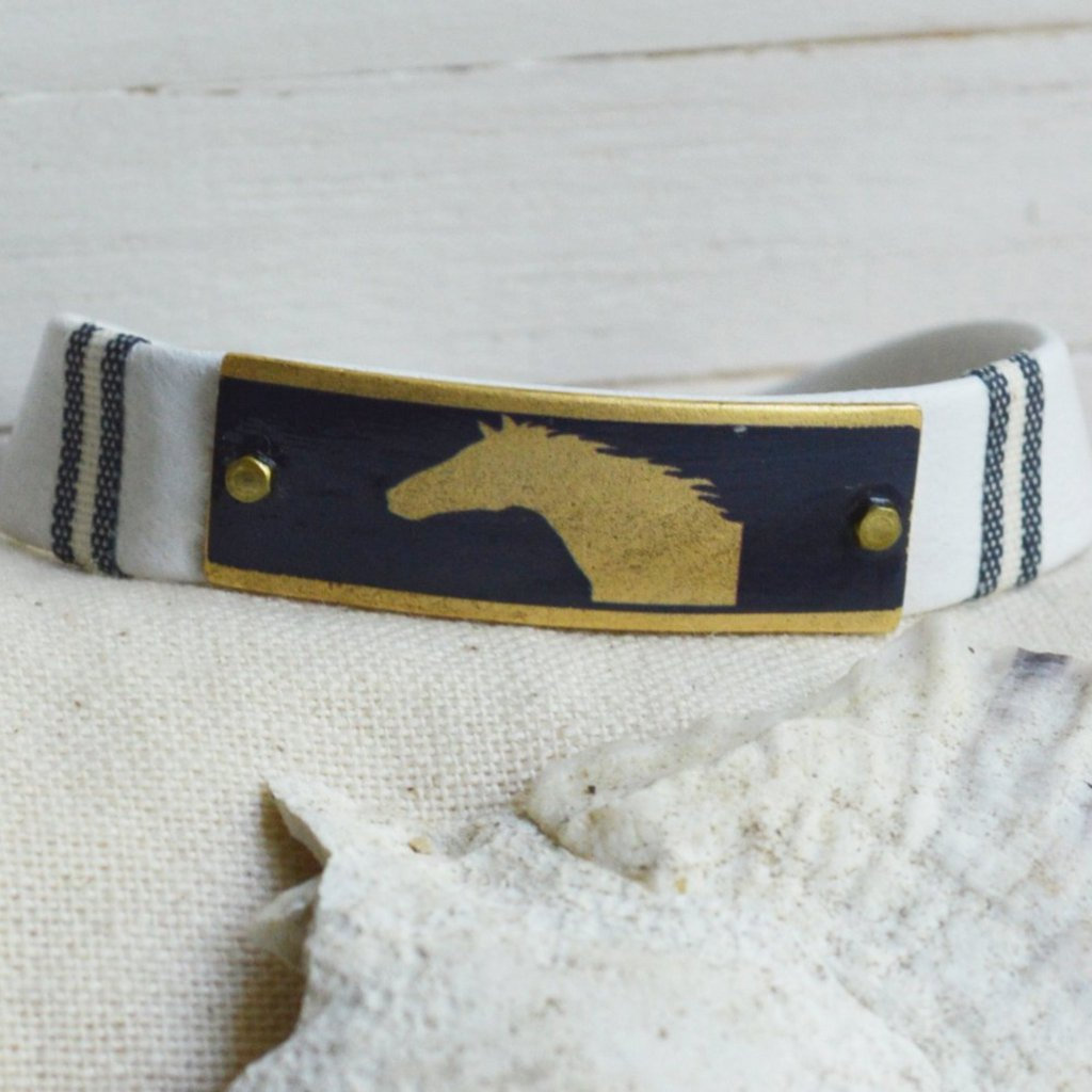 Women's Equestrian Leather Bracelet - Navy Horse
