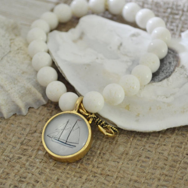 Women's Nautical SemiPrecious Beaded Charm Bracelet - Sail Boat