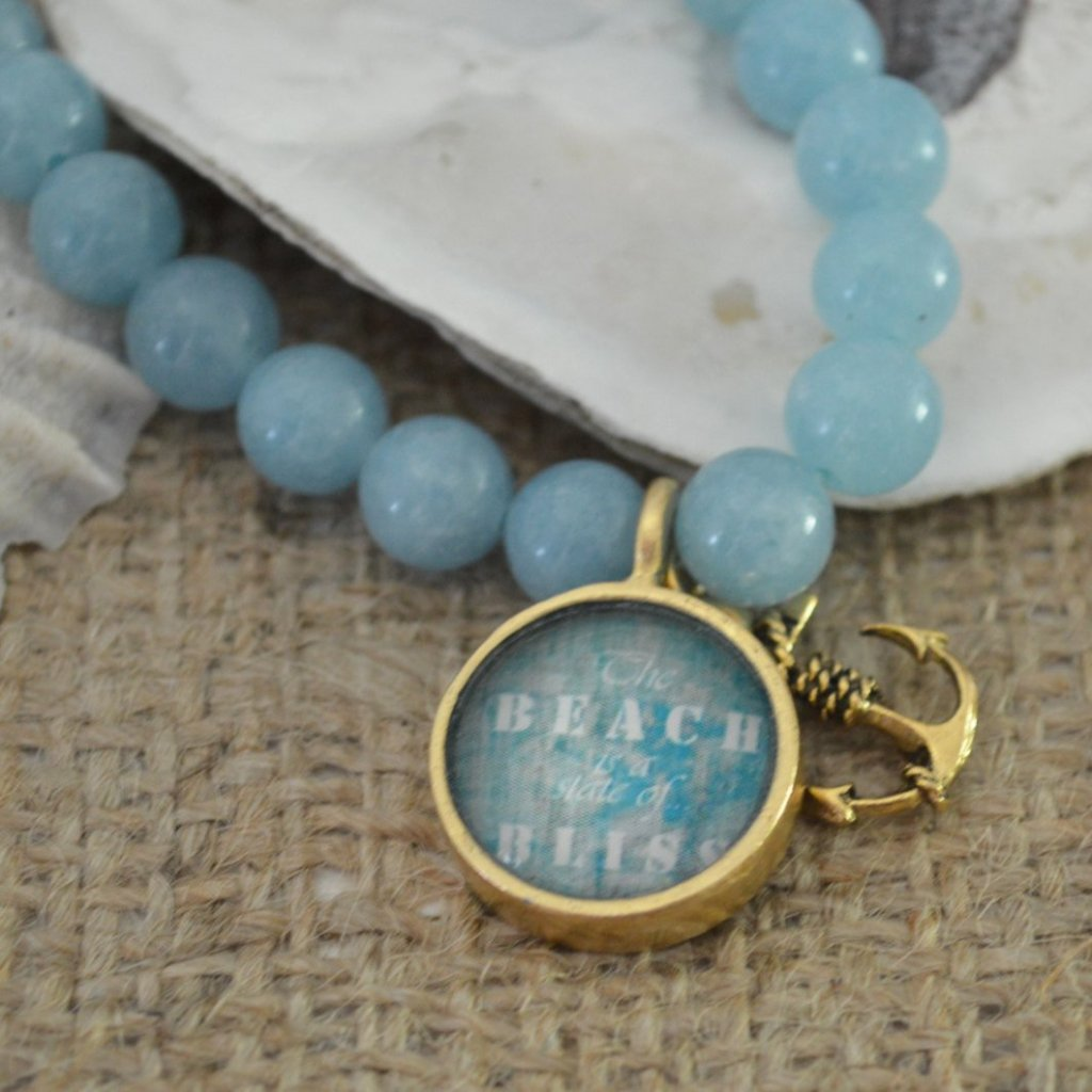 Women's Nautical SemiPrecious Beaded Charm Bracelet - Beach Quote