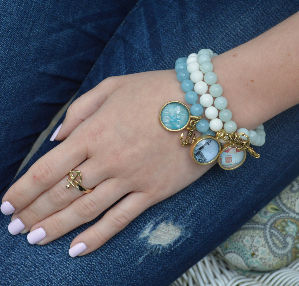 """The Beach Is A State Of Bliss"" SemiPrecious Beaded Charm Bracelet"